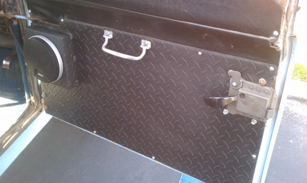 Installed Custom Diamond Plate Stereo Mount And Door